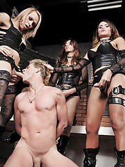 Bound submissive gets punished by shemale dommes