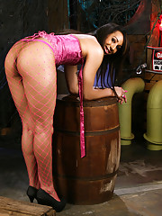 Ebony TS Honey posing as a naughty dock worker