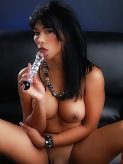 Busty transsexual Vaniity posing and toying