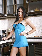 Pretty transsexual Mint stripping in the kitchen
