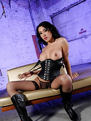 Oiled up Ximena playing with her cock & ass