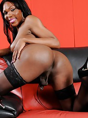 Seductive chocolate cutie Gabrielle stripping