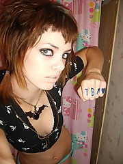 Pics of self-shooting emo chick