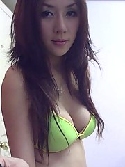 Cutie Asian with great tits wearing bikinis