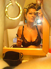 Pictures of a hot MILF in her two-piece suit