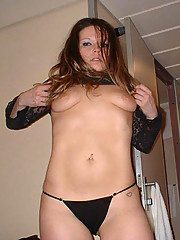 Photos of a wild MILF in her hot black lingerie
