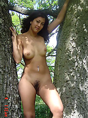 Sexy Latina babe takes off her clothes indoors and outdoors