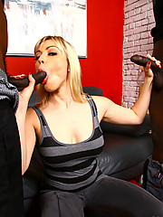 Blonde Cougar MILF in Interracial anal threesome