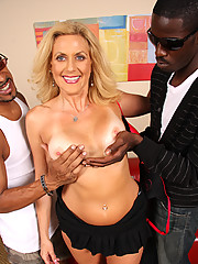 Blond Cougar MILF in interracial DP threesome