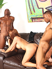 2 young blacks fuck Cougar MILF to avoid eviction