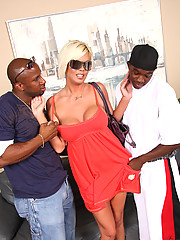 HOT blond cougar MILF fucks 2 young blacks CUM!