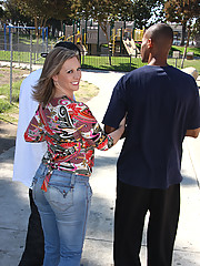 Hot Cougar MILF sucks and fucks 2 young blacks