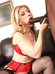 Cougar Nina Hartley fucks & sucks off young black