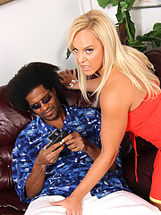 Blond cougar takes giant black dick in her ass