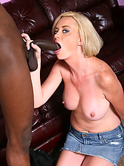Blonde cougar interracial fuck suck cumeating