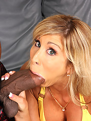 Cougar MILF makes son watch interracial fuck & BJ