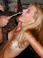 Cock-hungry sluts eating cum
