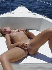 Lesbian boat sex and solo dildo fucking