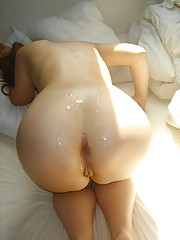 Naughty girlfriends showered with jizz all over their bods and faces