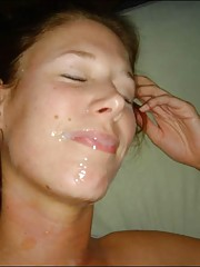 Slutty horny brunette gets her face sticky with cum