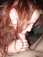 Pictures of a kinky redhead who enjoys giving a blowjob