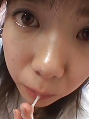 Japanese girl with huge eyes and moist lips from sucking dick