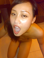 Dirty Asian sucks cock and spreads her legs for the camera
