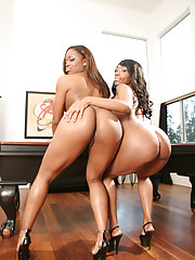 Dani Dior and Queen Diva are gorgeous ebony sex queens with voluptuous bodies and soft, silky skin.  They have perfectly formed ass cheeks that just make you want to lick their slits.  Watch these two nymphos engage in some sapphic loving and act out a li