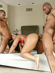Lexi Cruz gets her big booty banged by two huge cocks