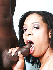 Horny ebony Jazmine swallows cum