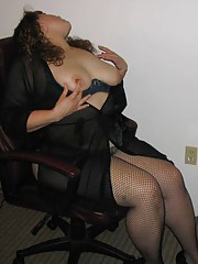 Sensual BBW in hot fishnets while dildoing