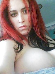 Busty emo showing off her monster tits on cam
