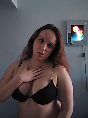 Ginger BBW stripping off her black underwear