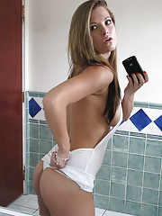 Beautiful hot fucking long leg blonde gets caught in the bathroom masturbating then sucks and get fucked hard in this ex girlfriend hot excitment