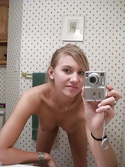 slightly chubby blonde girl pics in the mirror naked