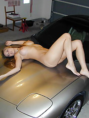 girl poses nude on her bosses car