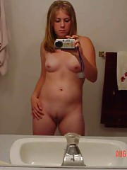 cute innocent girl takes pictures of her body in the mirror