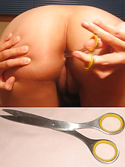 this chinese girl puts sharp scissors in her ass