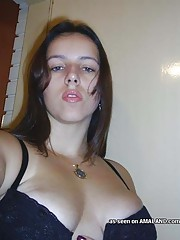 Pictures of a busty housewife cupping her nice full breasts