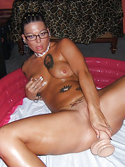 Picture set of hardcore dildoing and fingering