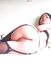 Picture collection of a Thai chick in her sexy black lingerie