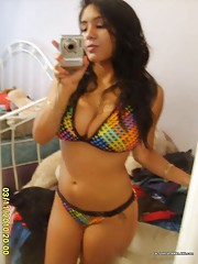 Smokin hot Latinas showing off their tits on cam
