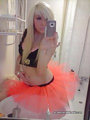 Hot photo collection of an emo doll in her tutu and lingerie
