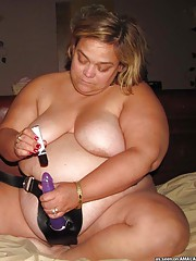 Huge blonde BBW GF playing with a strap-on dildo
