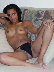 Slutty Ebony wearing sexy lingerie for her BF