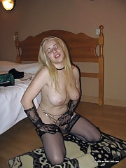 Blondie in sexy lingerie sucking a cock