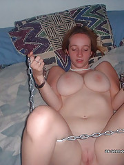 Ginger GF in chains while getting fucked
