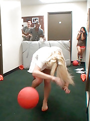 Check out 3 super hot college booty short teens fuck around playing dodge ball then get fucked in these hot real dorm room party vids