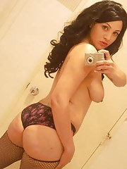 Picture collection of a topless chick in fishnet stockings