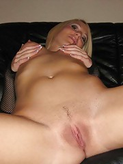 Picture collection of an amateur sleazy chick fingering her twat